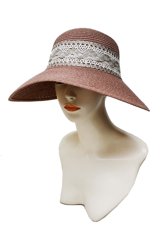 Lace Edge Bow Back Visor Bill Floppy Sun Hat