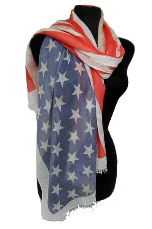 Vintage look Point Print American Flag Color Soft Regular Scarf
