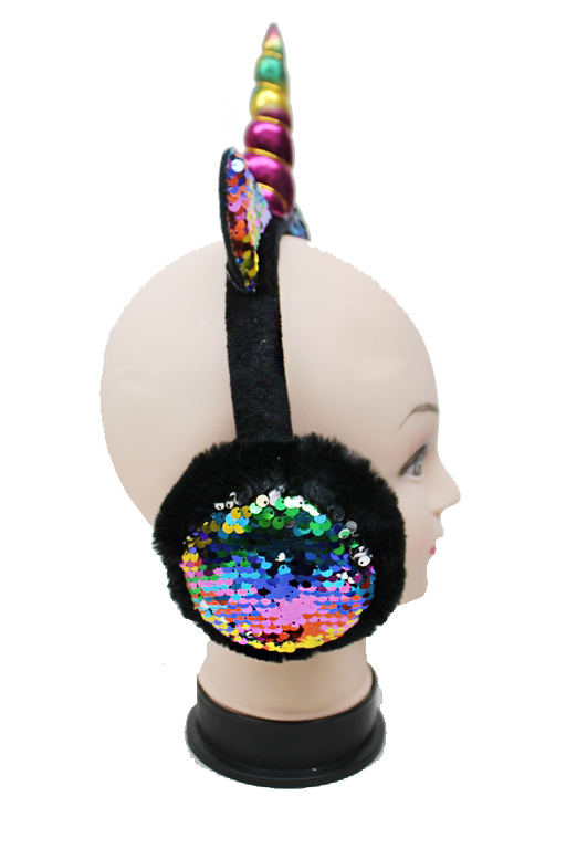 Unicorn Horned and Eared Faux Warm Colored Faux Fur Ear Muffs