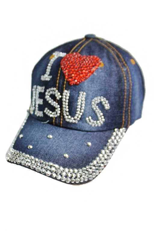 I Love Jesus Denim Distressed Bling Out Cap