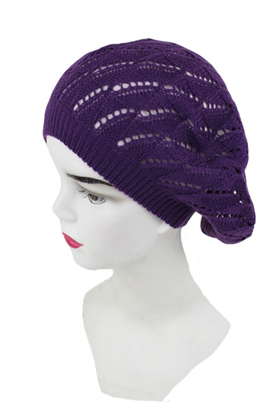Chevron Pattern Knit Beret