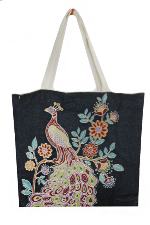 Nature Setting Peacock Printed Canvas Tote Bags