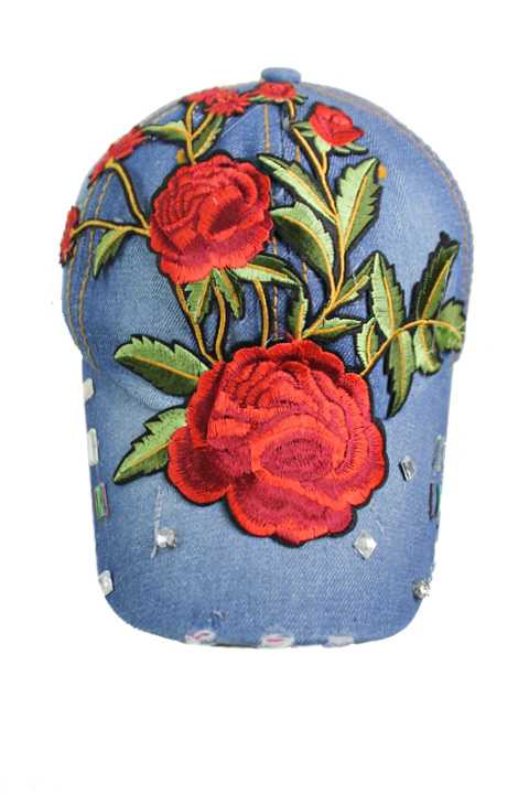 Big Bright And Bold Red Colored Flower Patch Denim Bling Bling Cap