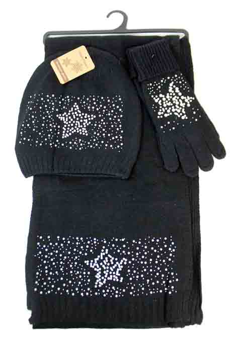 Plain Super Softness Wool Feel with Star Logo Bead Design Three Beanies Set