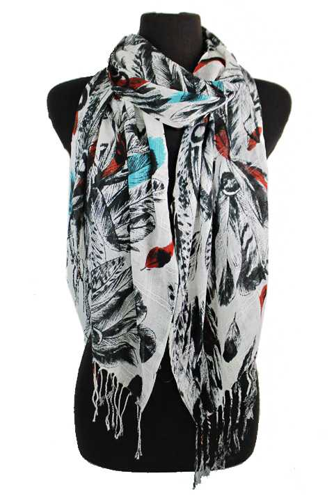 Native Boho Feather And Splash Of Color Softness Scarves