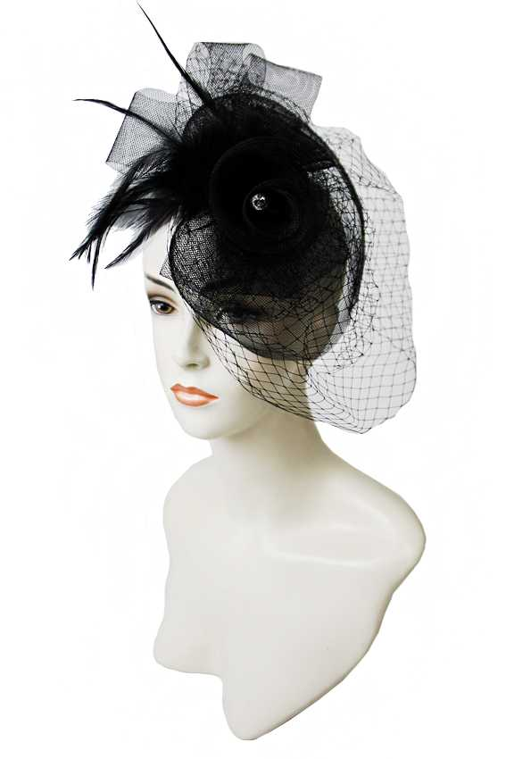 Luxury Tulle Netted Derby Double Rose Diamond Centered Fascinator