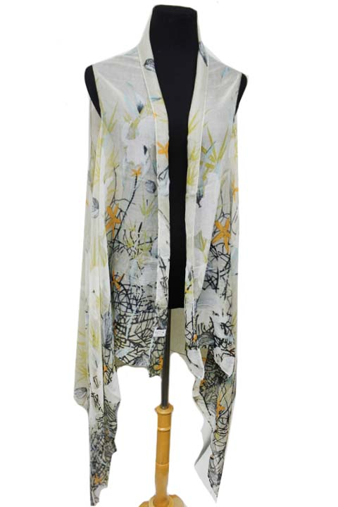 Natural and Flower Pattern Fashion Kimono Vest Top