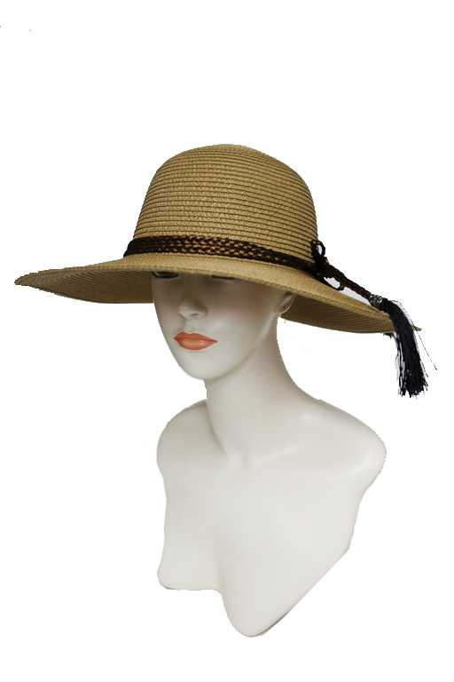 Triple Wrapped Around Braid Tassel Floppy Sun Hat