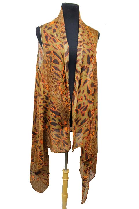 Animal Pattern pashmina Feel  Fashion Kimono Vest Top and Scarf
