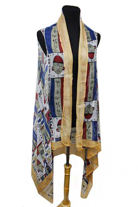 Antique Historic Cultural Face Mask Printed Softness Kimono Vest
