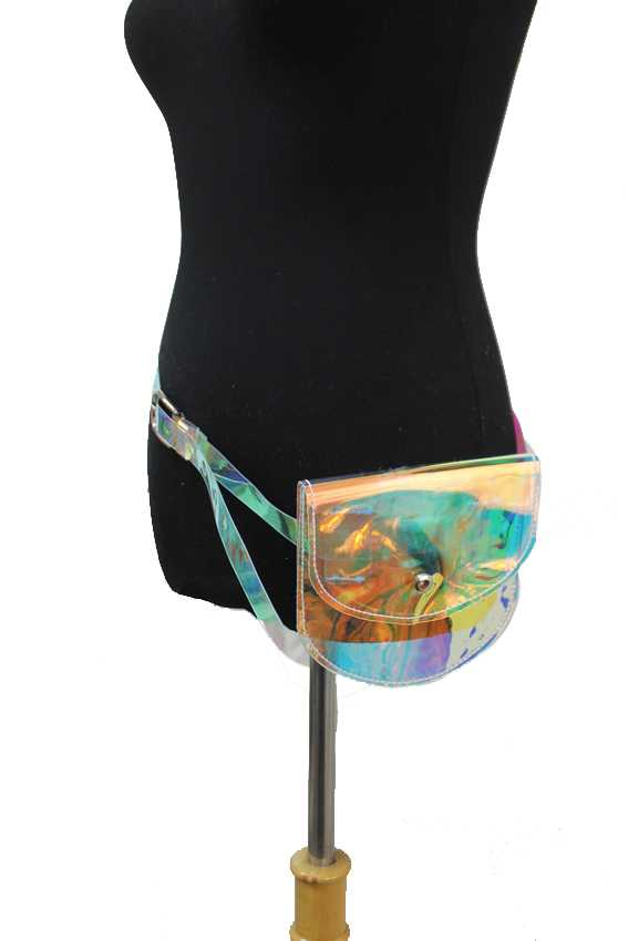 Next Dimension Neon Holographic Mini Flat Waist Belt Bag