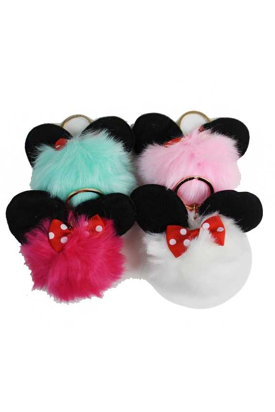 Famous Cartoon Ears Round Pom Pom Key Chain