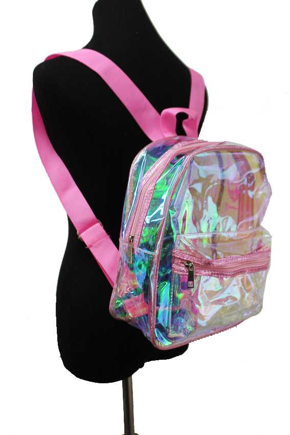 Glitter Trimmed Iridescent Transparent Backpack
