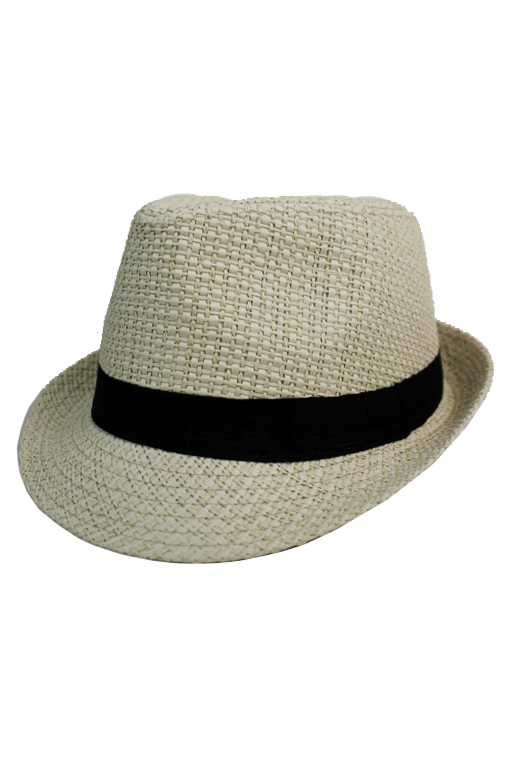 Woven Pattern Plain with Black band Fashion Fedoras