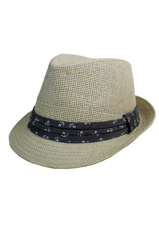 Anchor Gray Band Design Straw Fashion Fedoras