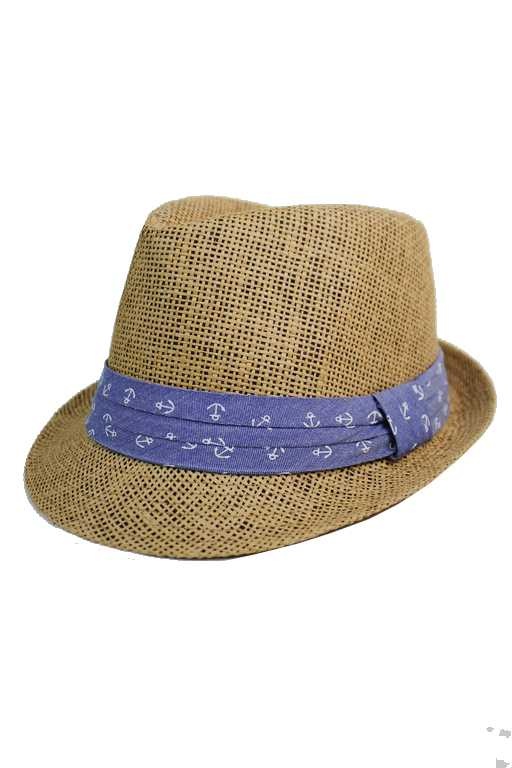 Anchor Blue Band Design Straw Fashion Fedoras