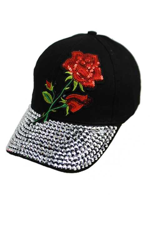 Sequin Red Enchanted Rose Bling Bling Cap