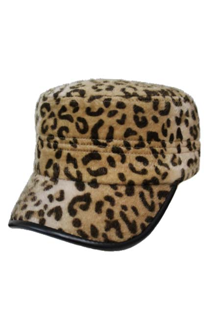 Animal Print Fur Design with PU Visor accent Cap