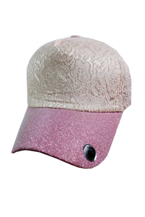 Floral Softness Lace Fabric with Shiny Visor Fashion Baseball Cap Style
