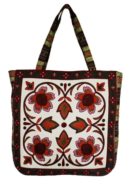 Boho and Chic Floral Patterned Woven Canvas Tapestry Tote Bag