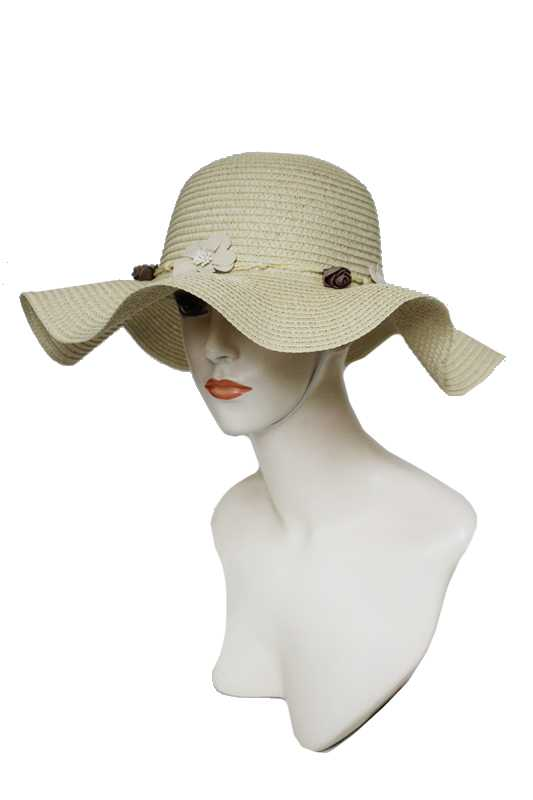 Wave Brim Style with Vintage Natural Floral Trim Sun Hat