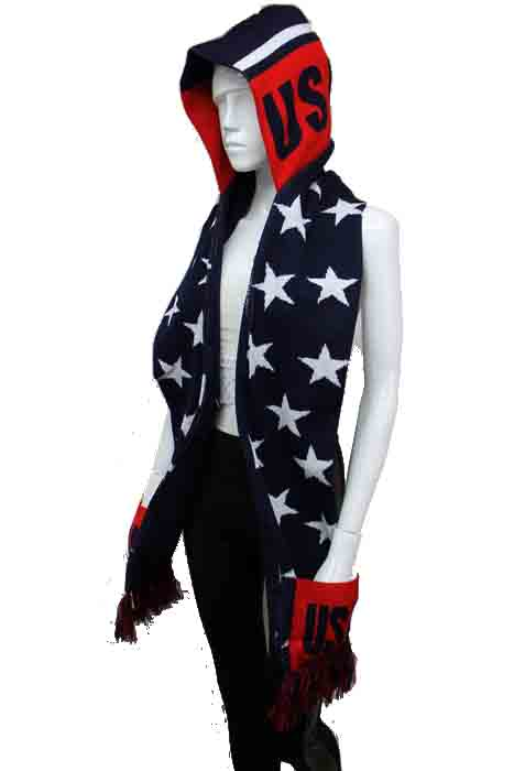 USA Star Design Warm Winter Knit Hooded Scarf