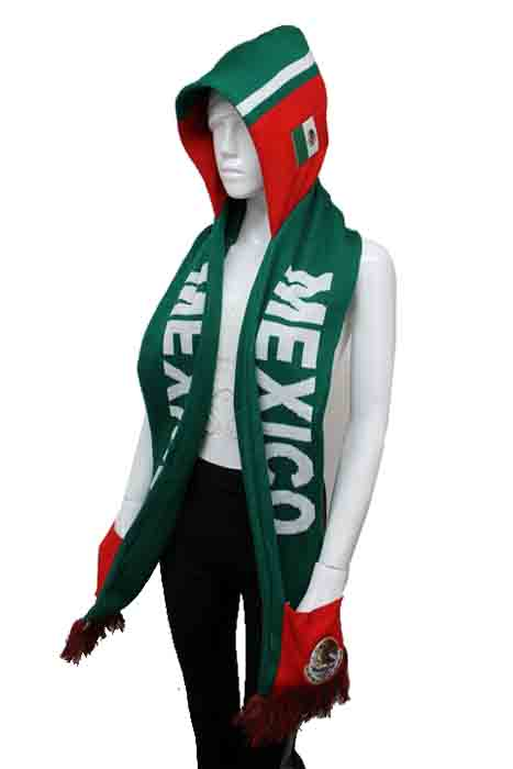 MEXICO and Natural Symbols Mexico Design Warm Winter Knit Hooded Scarf