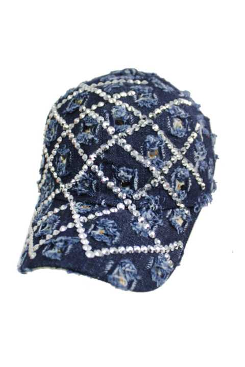 Extra Distressed Checkered Stone Bling Bling Cap