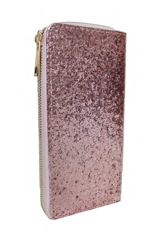 Metallic Glitter Fashion Wallet with Gold Zipper Closure