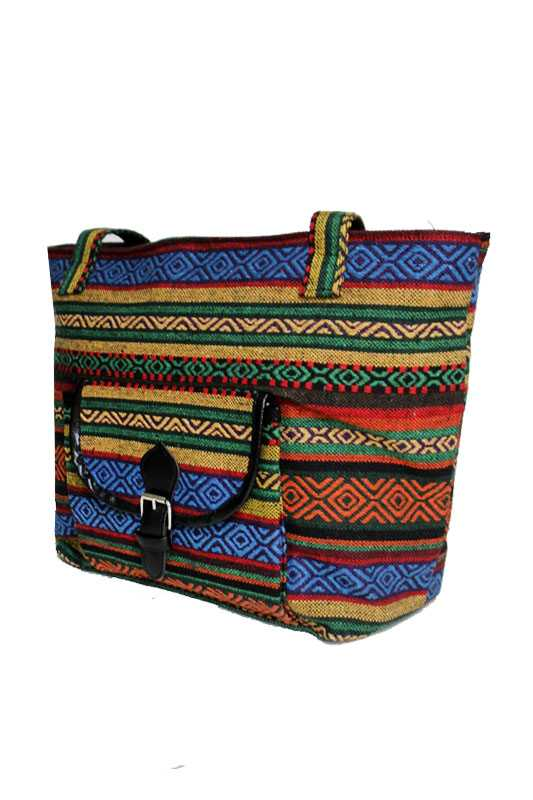 Petite Navajo Boho Printed Canvas Cotton with Front Bag Tote Bag