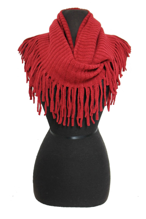 Wide Ribbed Knit Fringed Softness Infinity Scarves
