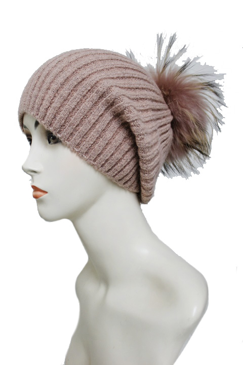 Slouchy Ribbed Soft Texture Real Fluffy Fur Pom Pom Beanie