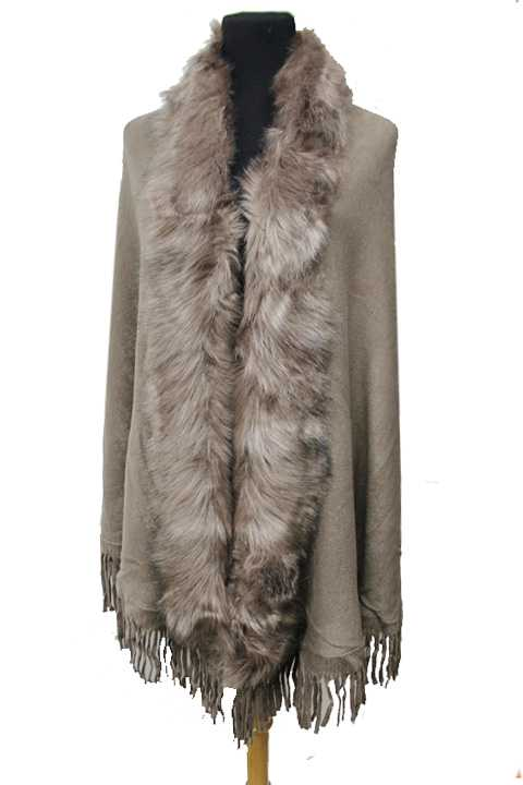 Faux Fur Trimmed Open Shawl With Fringe Classic Wrap