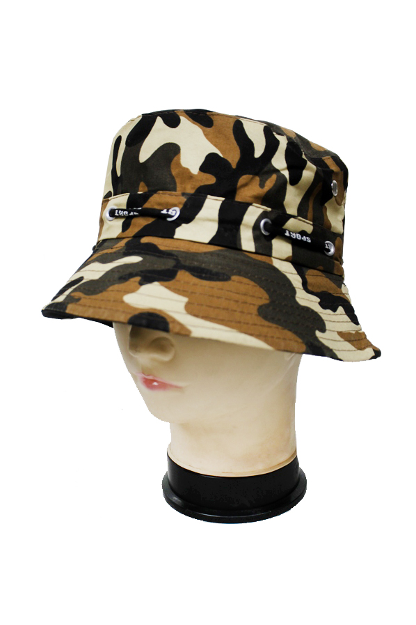 Camouflage pattern Bucket Hat with String