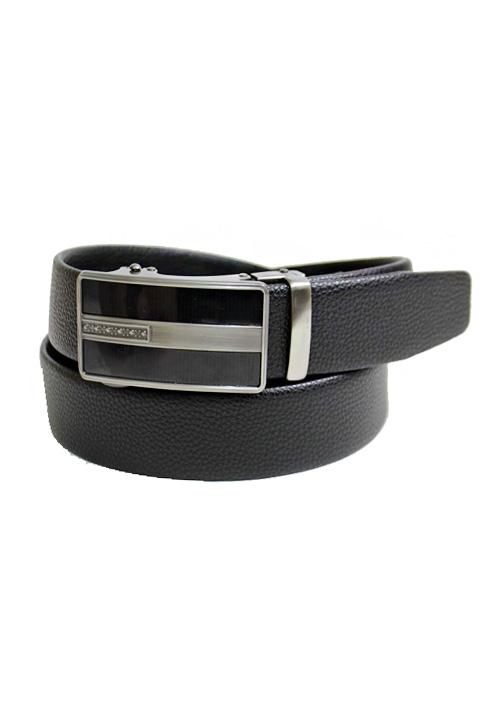 Wide Metal Plaque Buckle On Grained Texture Leather Felt Men's Wear Belt