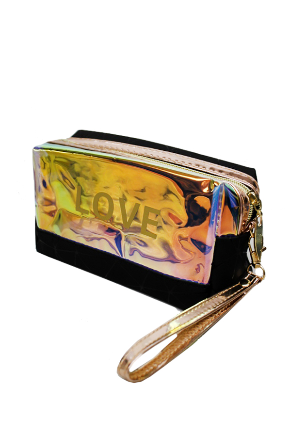 Colorful Laser Iridescent Pouch Love Print Bag