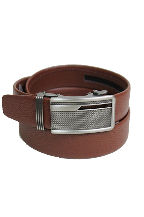 Ityy Bitty Honey Comb Engraved Plaque Buckle Leather Felt Men's Wear Belt