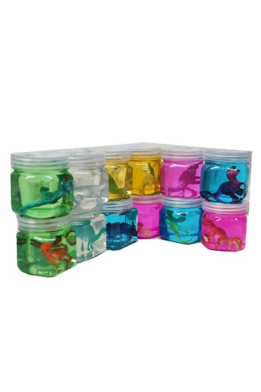 Dinosaur Gel Glitter Jelly With Novelty Figurine