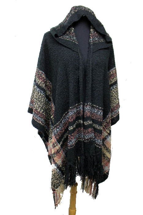 Plaid Pattern Super Softness with Hoodie Design Open Style Poncho