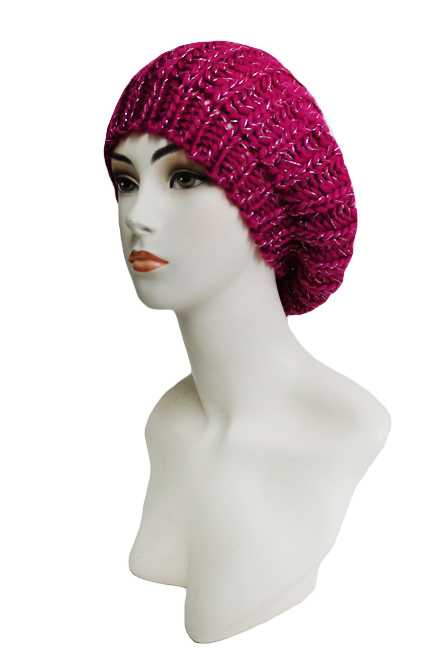 Super Softness Knitted with Tinsel Accent Beret Hat