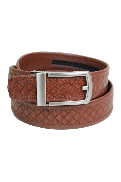 Checkered Engraved Stitched Pattern Leather Felt Men's Wear Belt