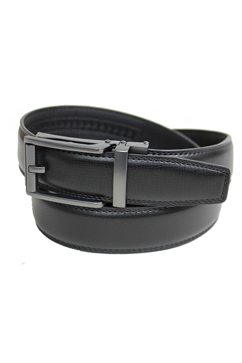 Textured Grain Gunmetal Harness Buckle Leather Felt Men's Wear Belt