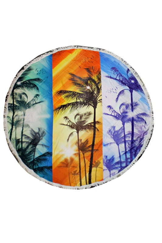 Palm,Sunset,Natural,Feather,Melon,Aztec Pattern Washed Dye Circle Beach Towel with Tassels