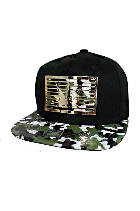 Military Pattern Faux Leather Visor Gold Metallic Looks City Initial design Snap Back Hat