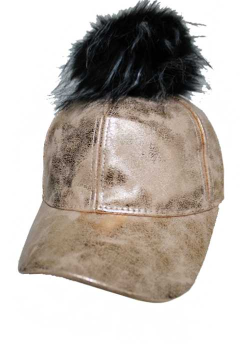Metallic Faux Leather Baseball Cap With Optional Pom Pom And Key Charm