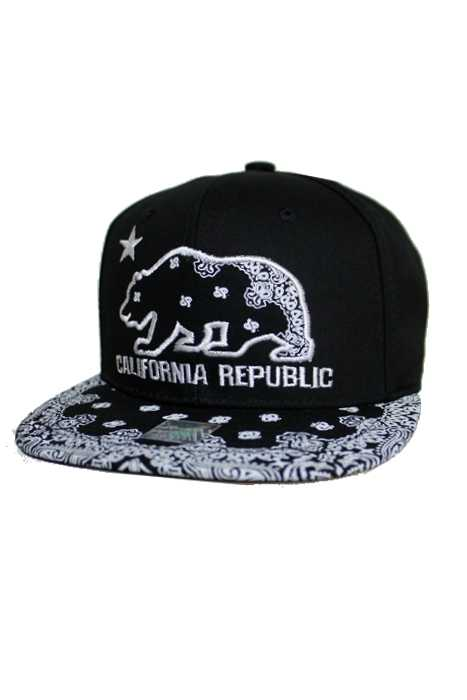 California Bear republic With Stylish Paisley Bandana Print Brim