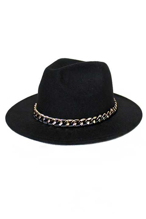 Panama Style with Gold chain and Fabric design soft hat