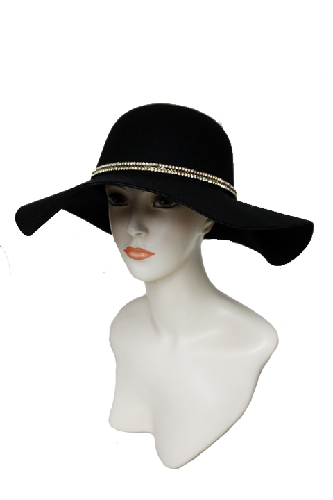 Floppy with Suede band on Rhinestone Design Super soft Hat