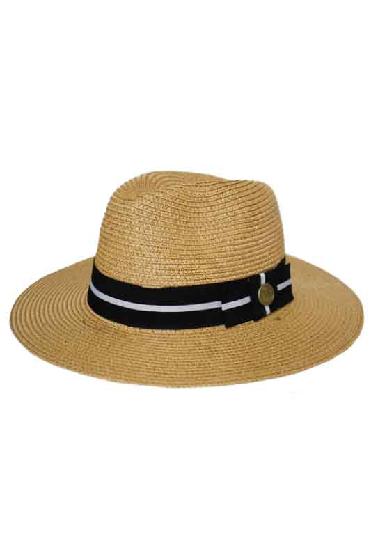 Panama Style with Striped Band Metallic Gem Design Hat