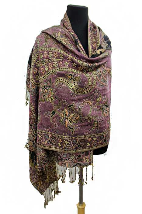 Paisley and Flower Pattern Gold Metallic Look Thread Accent Pashimina Shawls Scarf